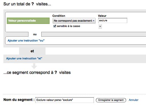 segment exclusion valeur perso exclure Google Analytics