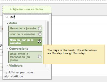 google analytics jours de la semaine - nom des jours