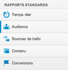 Google Analytics v6 rapports standard menu
