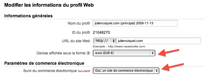 google analytics gestion de devises
