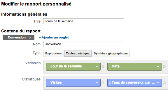 zones de chaleurs Google Analytics dans Excel custom report builder FR