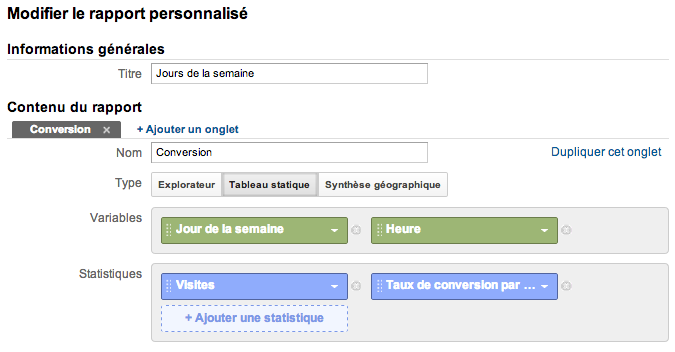 zones de chaleurs Google Analytics dans Excel custom report builder v2 FR