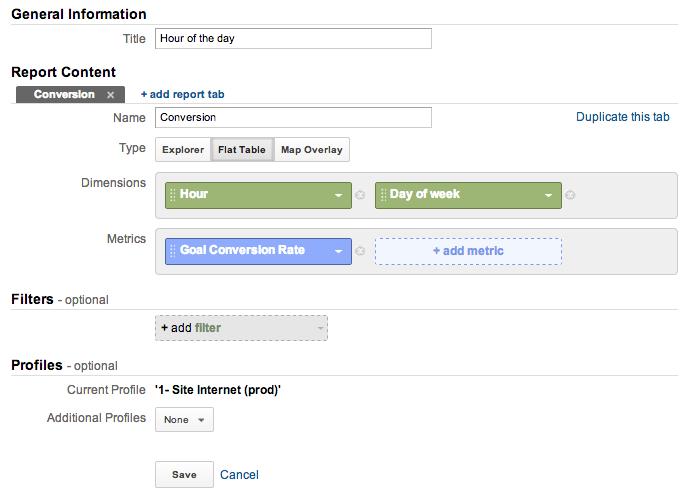 ga heatmaps in Excel custom report builder v2