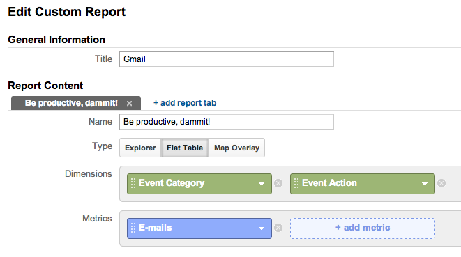 google analytics universal gmail activity report custom metric dimension creation screen