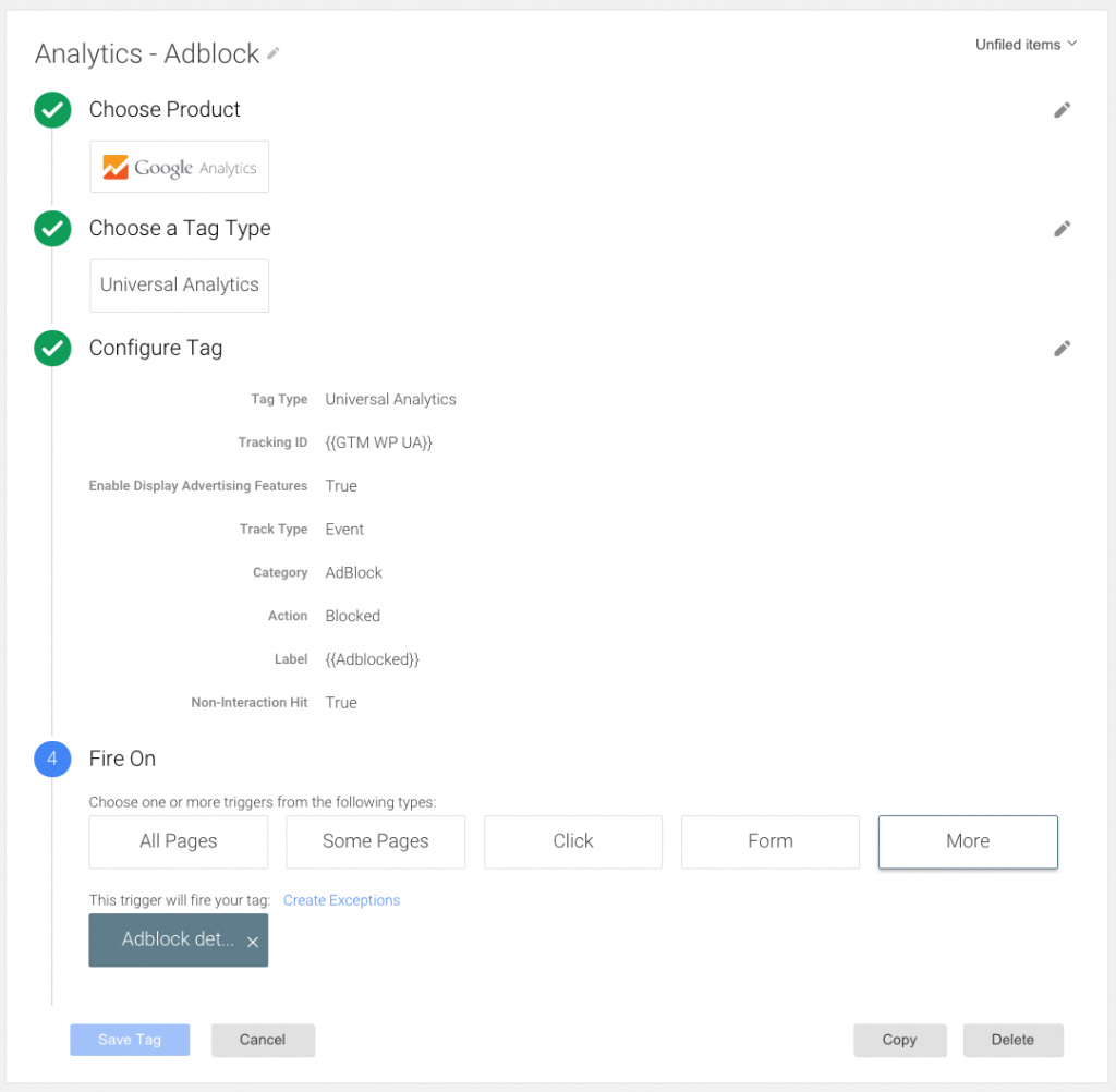 adblocking google tag manager analytics universal event tag