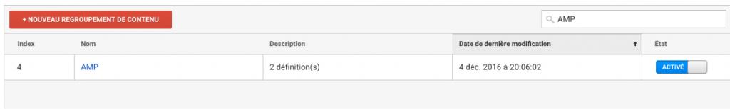 Groupe de contenu Google Analytics pour pages AMP