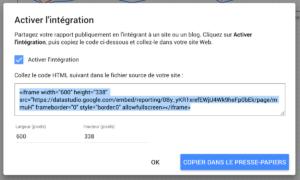 Intégrer DataStudio: autorisation et code iframe