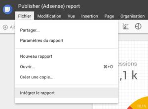 Intégrer DataStudio: menu fichier