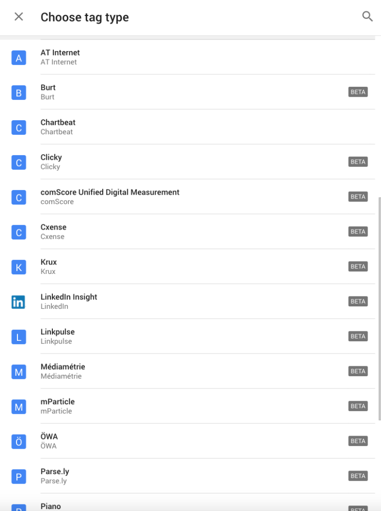 google tag manager new digital analytics tag vendors
