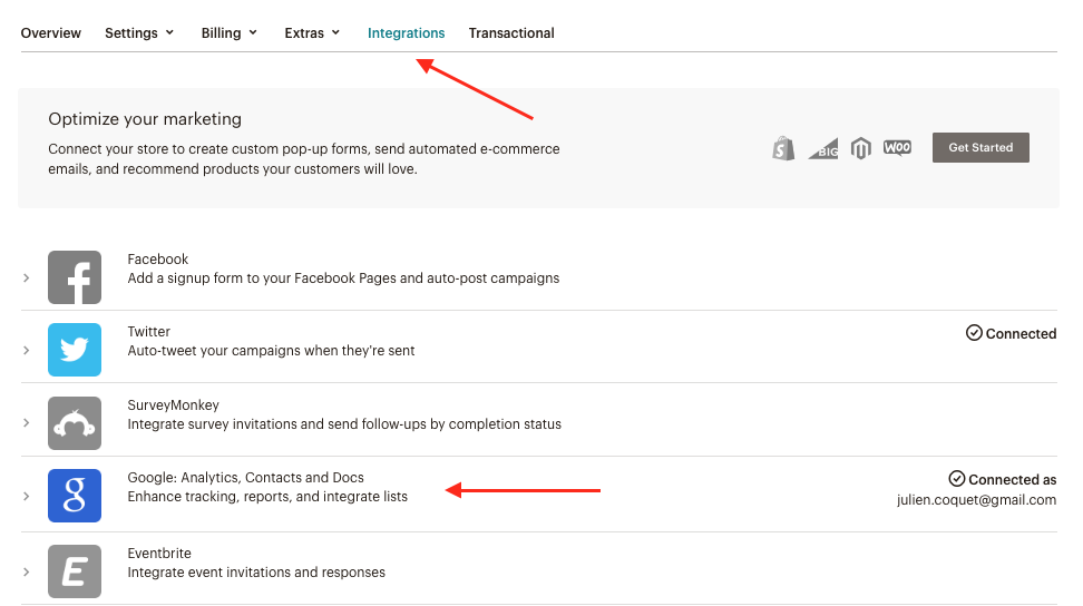 Google Analytics - integration in Mailchimp